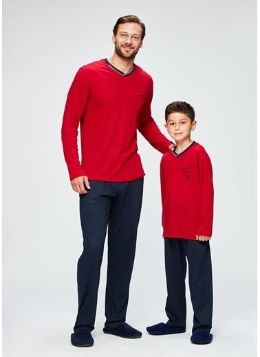 Dagi Erkek Çocuk V Yaka Uzun Kollu Pijama Takımı Kırmızı